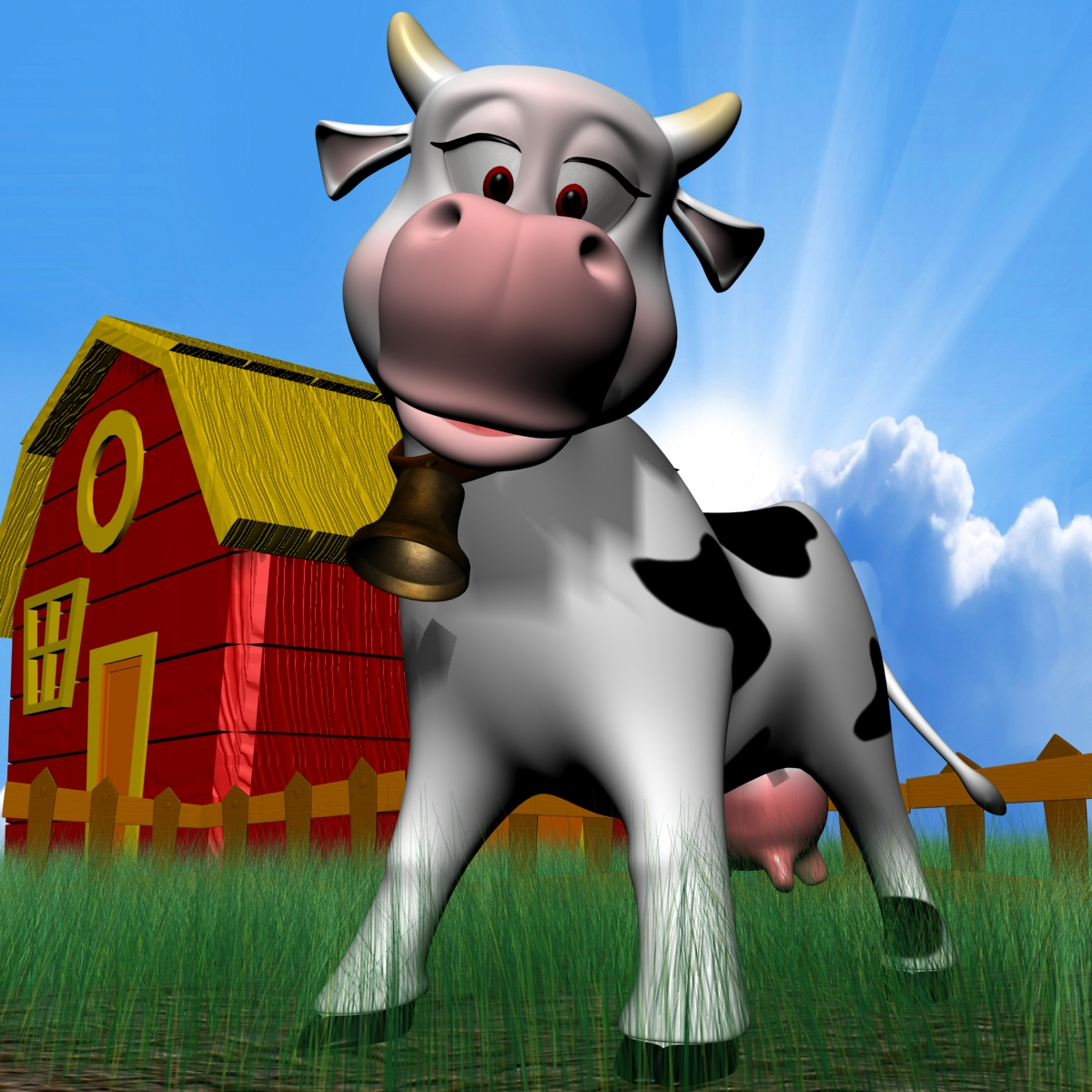cartoon cow rigged 3d model 3ds max fbx obj 166108