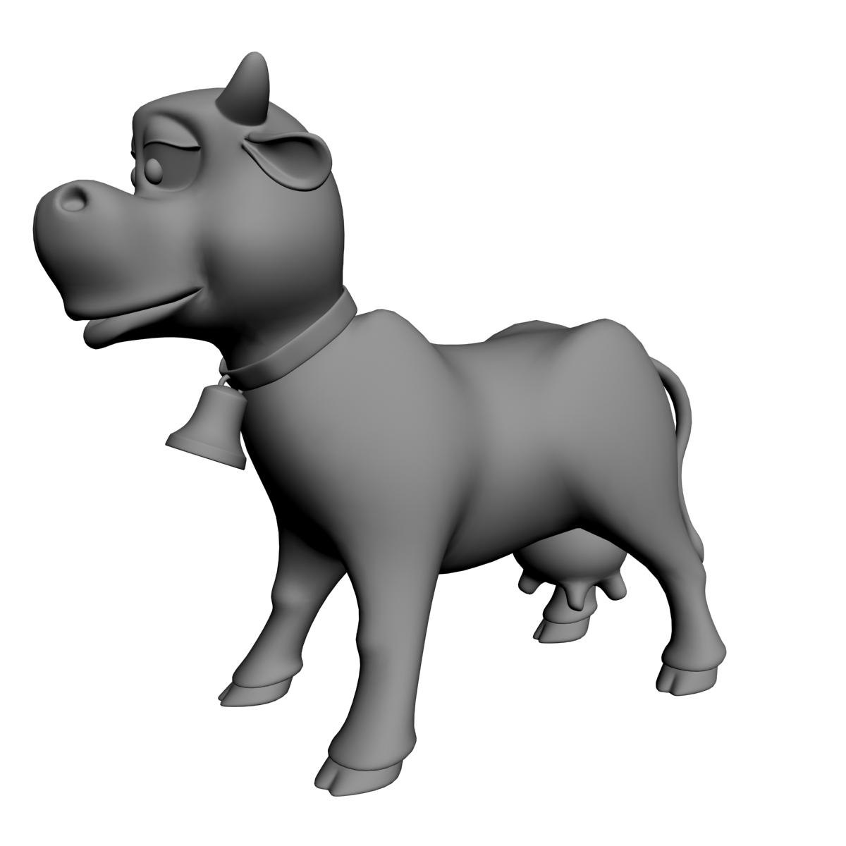 cartoon cow rigged 3d model 3ds max fbx  obj 166112