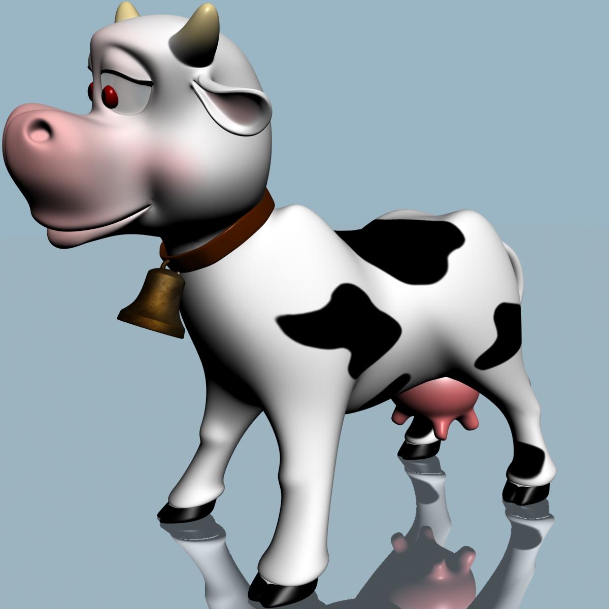 cartoon cow rigged 3d model mammals character 3ds max fbx obj ar vr