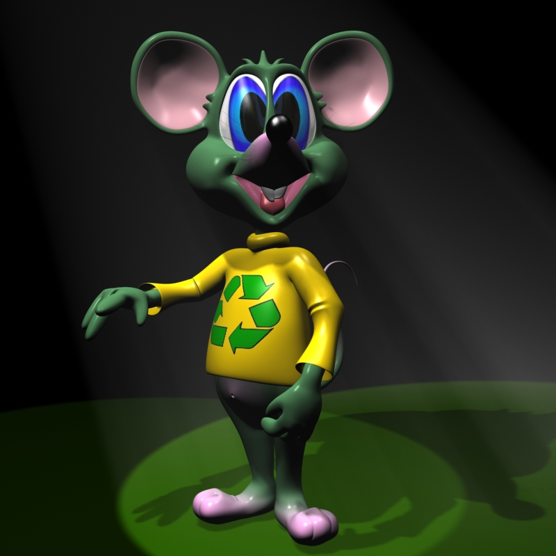 green mouse rigged 3d model 3ds max dxf fbx lwo obj 118552