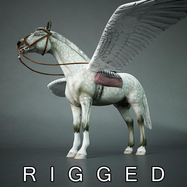 pegasus (zirgs ar spārniem) 3d modelis 3ds max dxf fbx c4d x lwo 3dm hrc xsi faktūra wrl wrz obj 118062