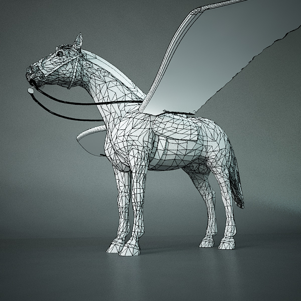 pegasus (horse with wings) 3d model 3ds max dxf fbx c4d x lwo 3dm hrc xsi texture wrl wrz obj 118064