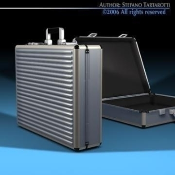 aluminium suitcase 3d model 3ds dxf c4d obj 78006