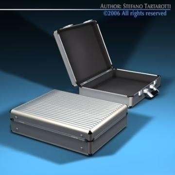 aluminium suitcase 3d model 3ds dxf c4d obj 78008