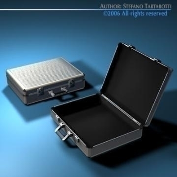 aluminium suitcase 3d model 3ds dxf c4d obj 78010