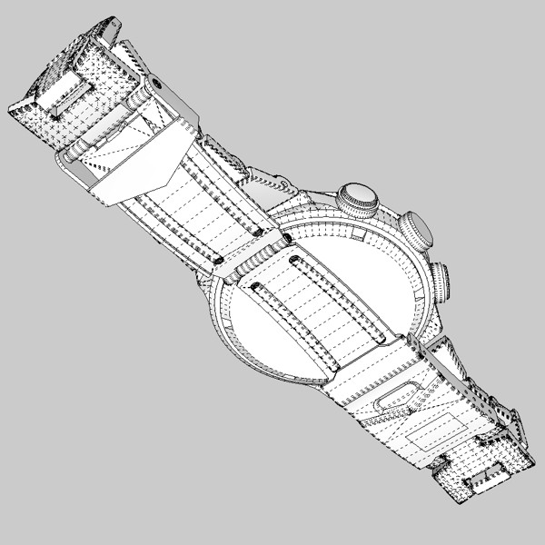 chronograph watch 3d model 3ds fbx skp obj 115591