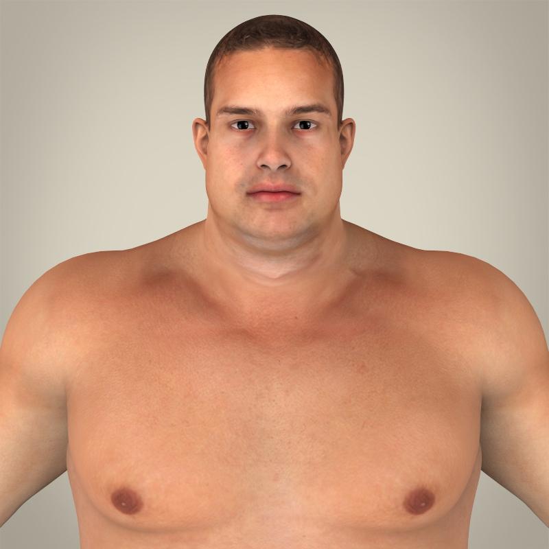 realistic fat man 3d model 3ds max fbx c4d lwo ma mb texture obj 163667