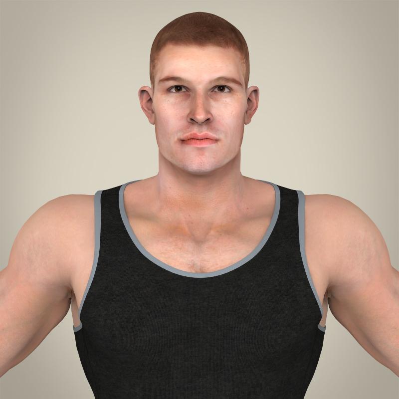 realistic handsome man 3d model 3ds max fbx c4d lwo ma mb texture obj 164363
