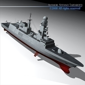 fremm multipurpose frigate 3d model 3ds dxf c4d obj 91937