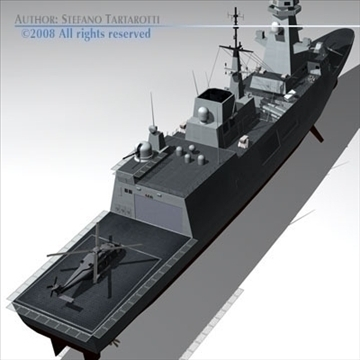 fremm multipurpose frigate 3d model 3ds dxf c4d obj 91941