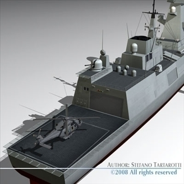 fremm multipurpose frigate 3d model 3ds dxf c4d obj 91944