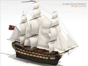 hms leopard sailing vessel 3d model 3ds dxf c4d obj 108006