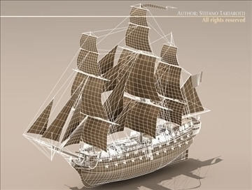 hms leopard sailing vessel 3d model 3ds dxf c4d obj 108012