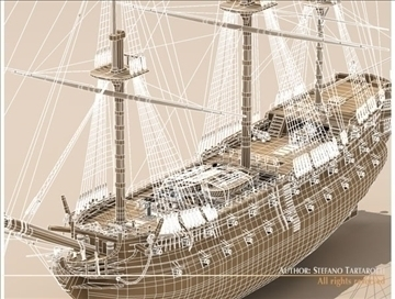hms leopard sailing vessel 3d model 3ds dxf c4d obj 108013