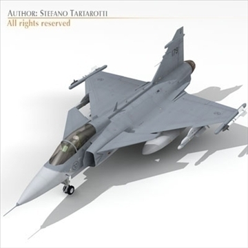 jas 39 gripen 3d model 3ds dxf c4d obj 104366