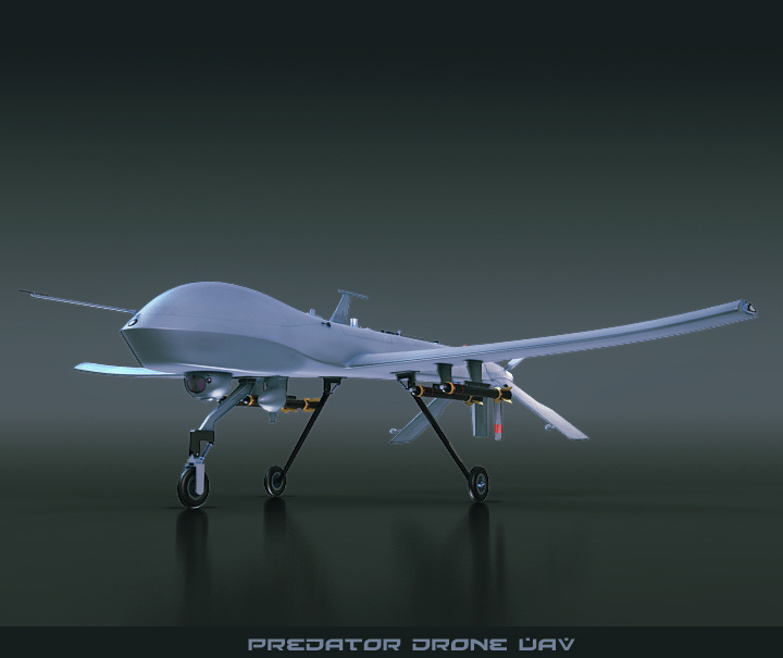 predator drone uav 3d model 3ds max fbx obj 116864