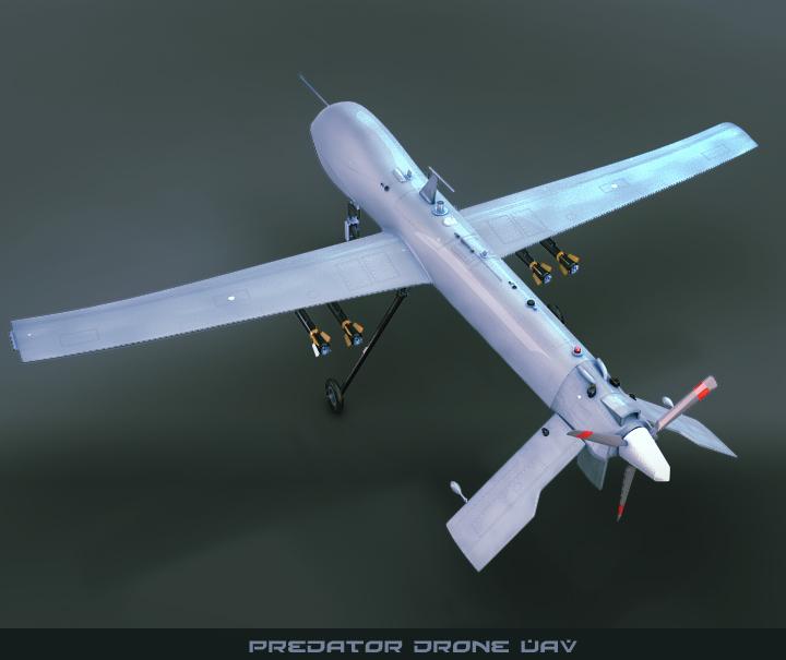 predator drone uav 3d model 3ds max fbx obj 116865