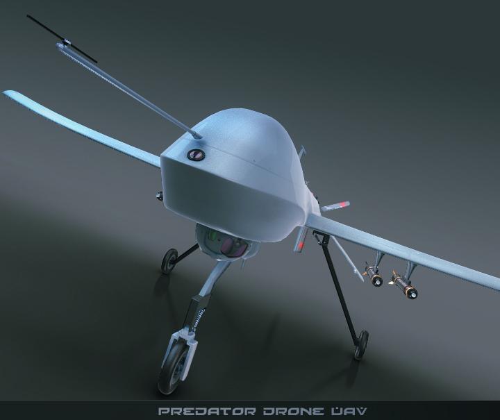 predator drone uav 3d model 3ds max fbx obj 116868