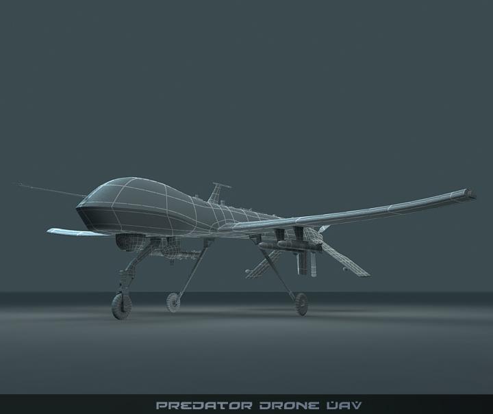 predator drone uav 3d model 3ds max fbx obj 116875