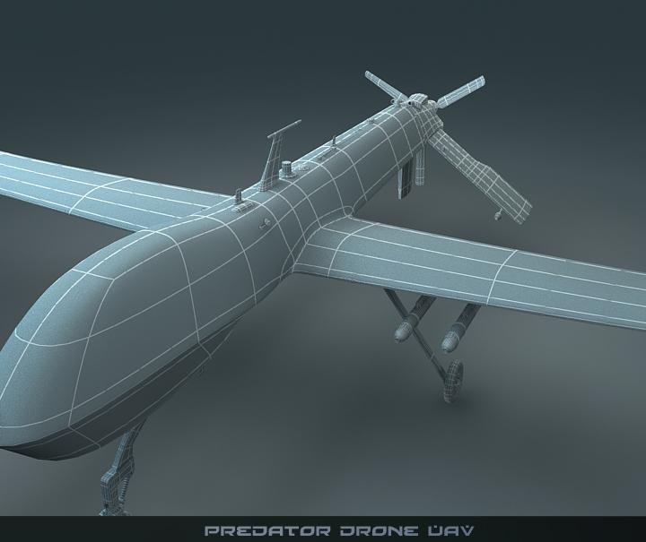 predator drone uav 3d model 3ds max fbx obj 116876