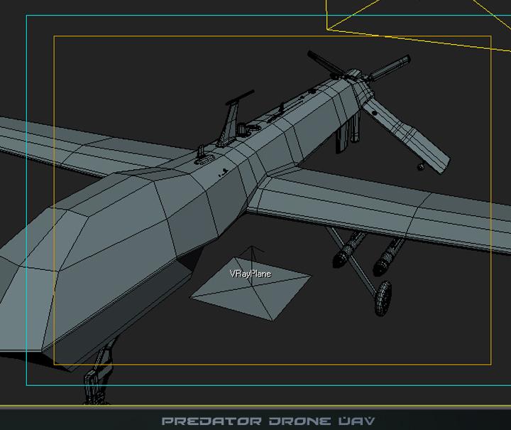 predator drone uav 3d model 3ds max fbx obj 116878