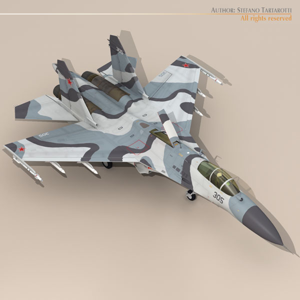 su-27 3d model 3ds dxf c4d obj 118621