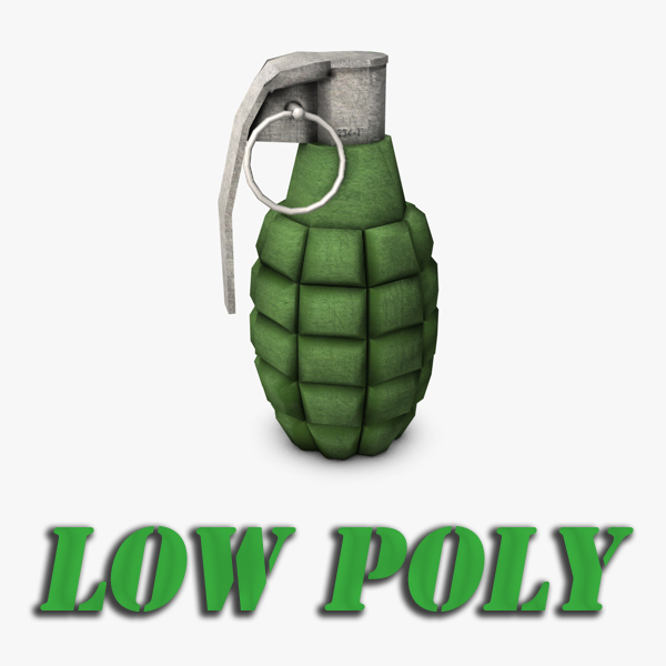 low poly hand grenade 3d model 3ds max fbx c4d obj 139410