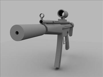 mp5 sub machine gun untextured 3d model max 110186