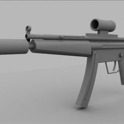 Mp5 sub machine gun untextured ( 23.99KB jpg by andycraig )