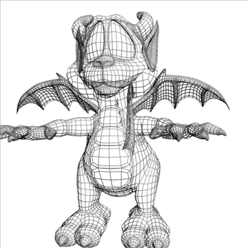 cute cartoon dragon rigged 3d model 3ds max fbx lwo obj 108448