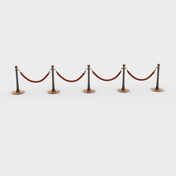 stanchions and rope barrier 3d model 3ds max fbx c4d obj 138591