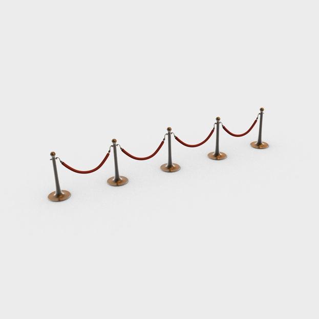 stanchions and rope barrier 3d model 3ds max fbx c4d obj 138592