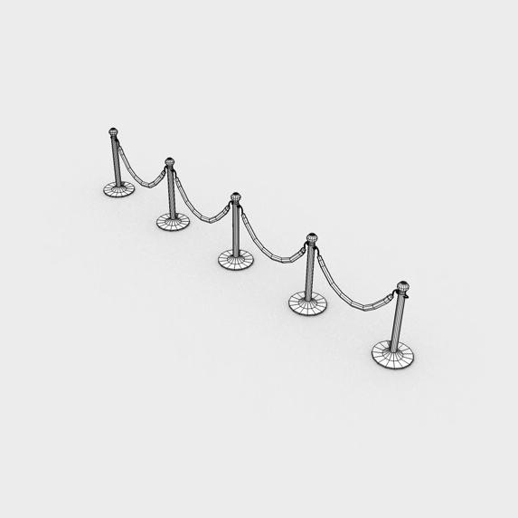 stanchions and rope barrier 3d model 3ds max fbx c4d obj 138594