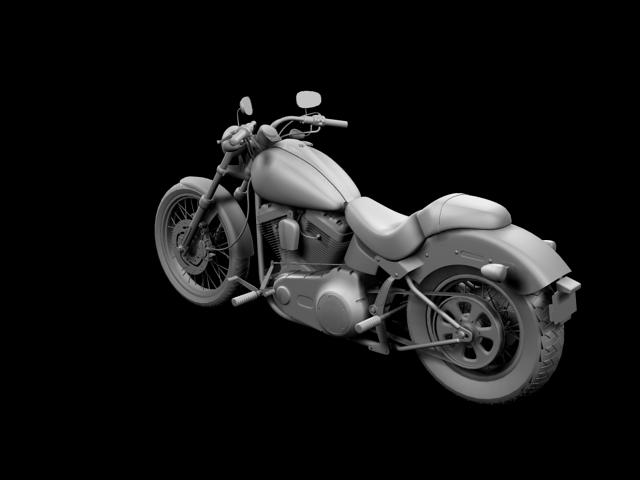 harley-davidson fxs softail blackline 2012 3d model 3ds max fbx c4d obj 154962
