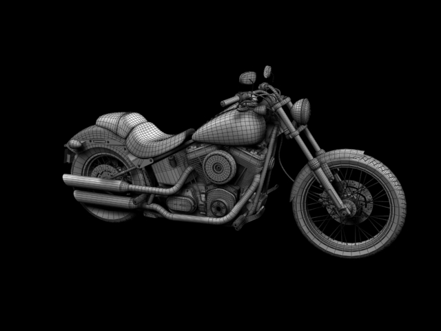 harley-davidson fxs softail blackline 2012 3d model 3ds max fbx c4d obj 154966