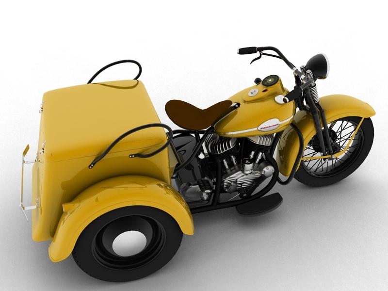 harley-davidson servi-car 1942 3d model 3ds max dxf fbx c4d obj 158500
