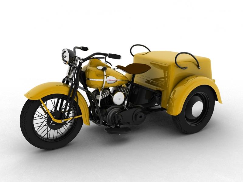 harley-davidson servi-car 1942 3d model 3ds max dxf fbx c4d obj 158502