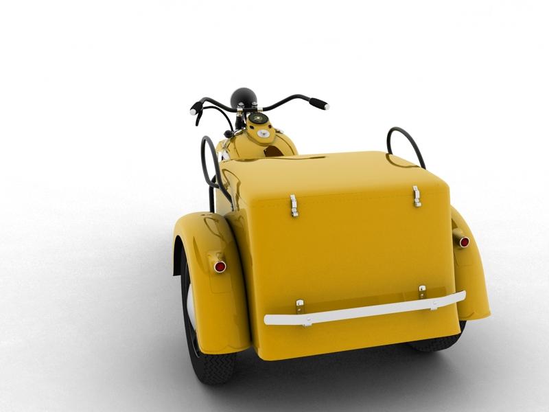 harley-davidson servi-car 1942 3d model 3ds max dxf fbx c4d obj 158505