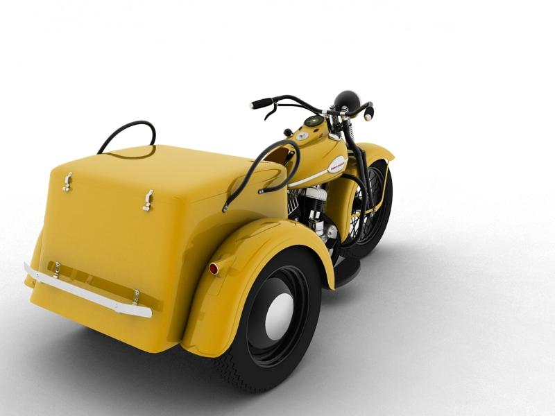 harley-davidson servi-car 1942 3d model 3ds max dxf fbx c4d obj 158506