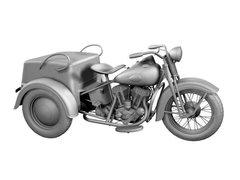 harley-davidson servi-car 1942 3d model 3ds max dxf fbx c4d obj 158508