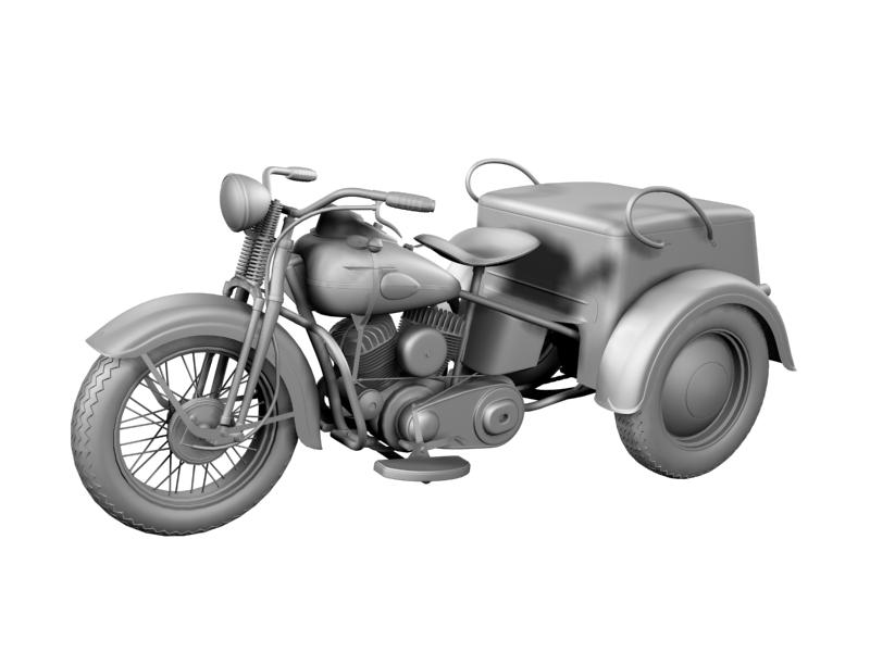 harley-davidson servi-car 1942 3d model 3ds max dxf fbx c4d obj 158509