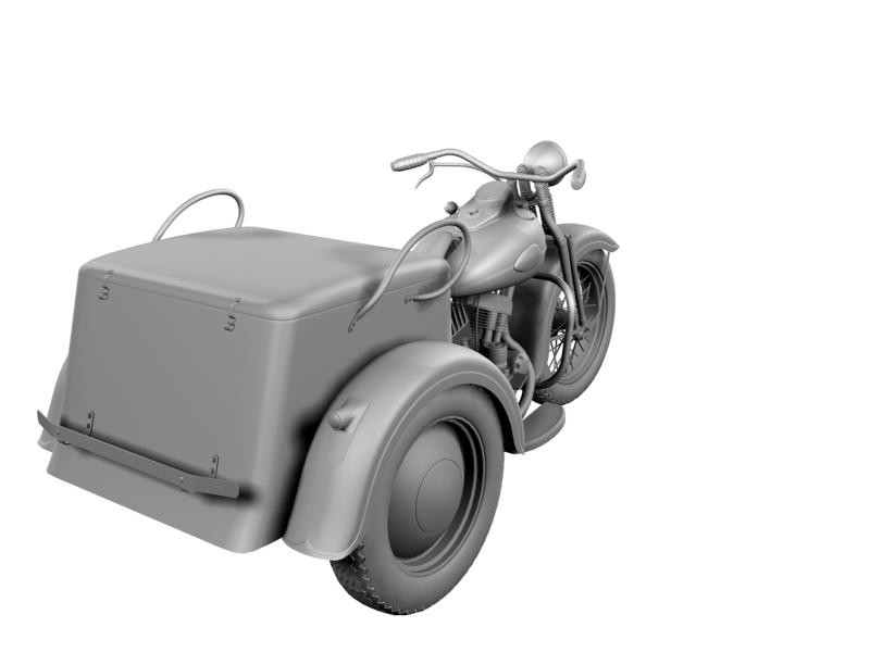 harley-davidson servi-car 1942 3d model 3ds max dxf fbx c4d obj 158513