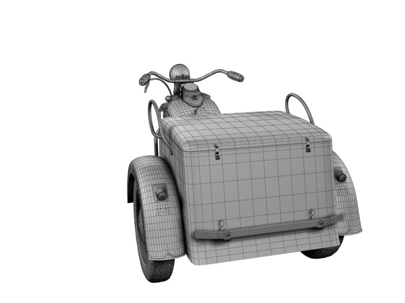 harley-davidson servi-car 1942 3d model 3ds max dxf fbx c4d obj 158520