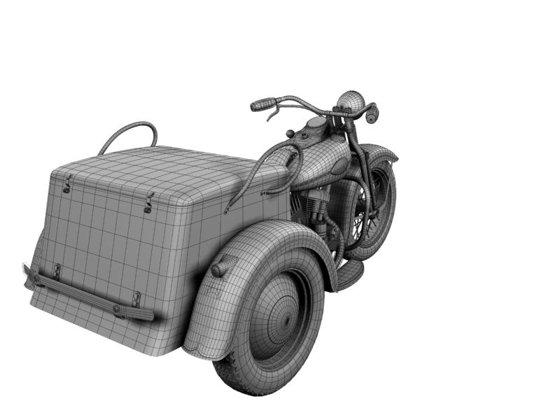 harley-davidson servi-car 1942 3d model 3ds max dxf fbx c4d obj 158521