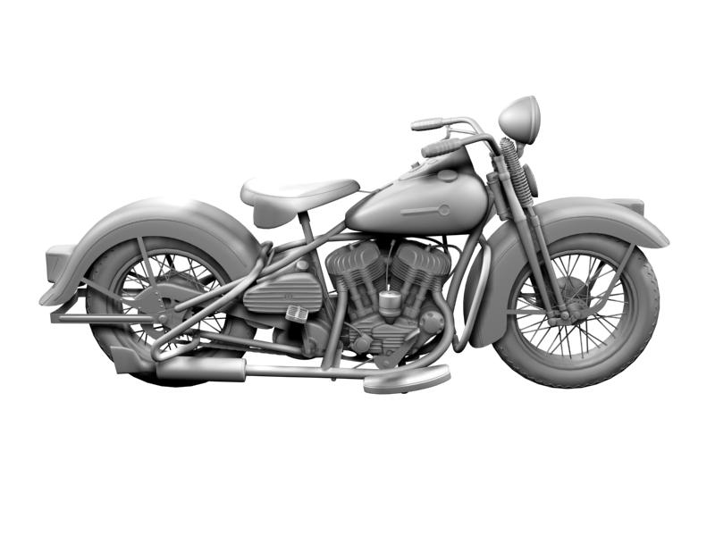 harley davidson wl 1942 3d model 3ds max dxf c4d