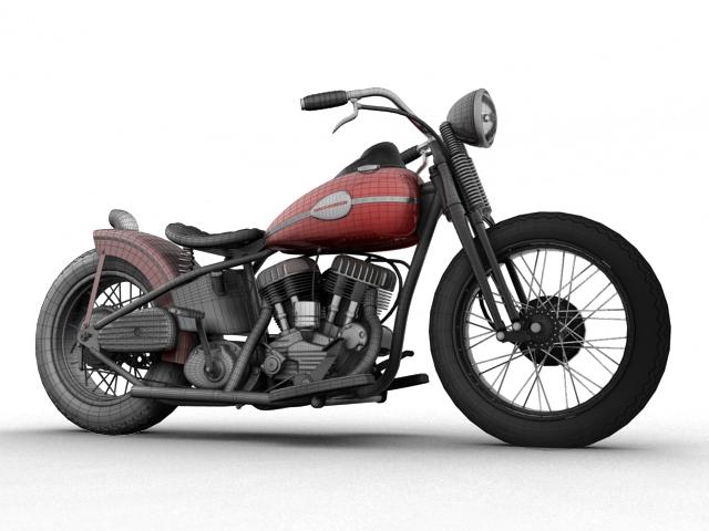 harley-davidson wla bobber 1945 3d model 3ds max fbx c4d obj 155169