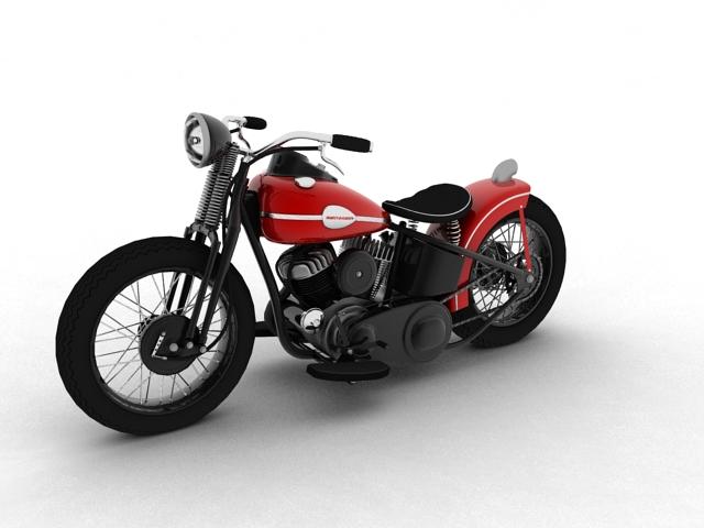harley-davidson wla bobber 1945 3d model 3ds max fbx c4d obj 155170
