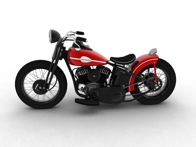 harley-davidson wla bobber 1945 3d model 3ds max fbx c4d obj 155171