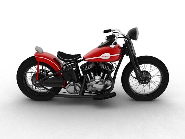 harley-davidson wla bobber 1945 3d model 3ds max fbx c4d obj 155175