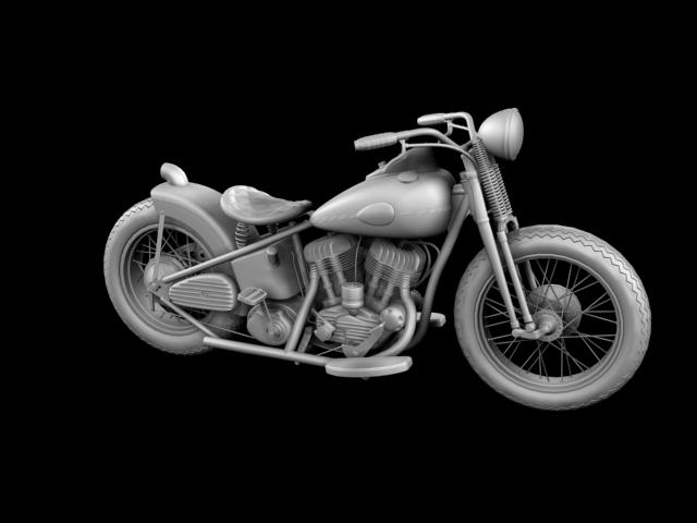 harley-davidson wla bobber 1945 3d model 3ds max fbx c4d obj 155176